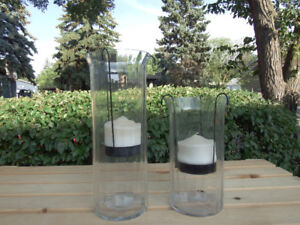 Pair of Large Decorative Glass Candle Holders