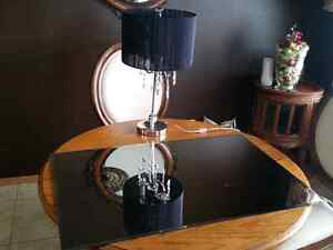 Table lamp and mirror.