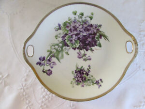 Antique Signed Hand Painted Handled O.&E.G. Cake Plate