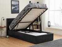 🌈🌈Superb Quality🌈🌈 SINGLE LEATHER STORAGE BED FRAME WITH SEMI ORTHOPEDIC MATTRESS - BLACK/BROWN