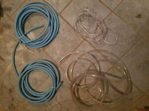 Blue and clear rubber tubing