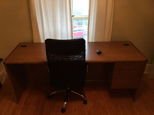 Large wood desk + office chair