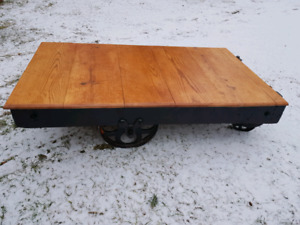 Factory foundry cart coffee table