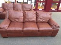 ***NEW EX DISPLAY set of two 3 seater 100% leather sofas for SALE***