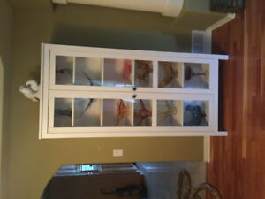 White curio cabinet and matching side table