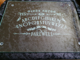 Ouija Hand Engraved Glass Placemat