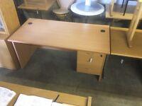 Light oak office desk.