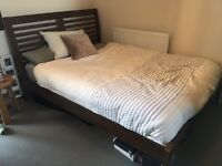 Double bed wood frame with mattress