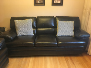 Leather Couch and Single Seat