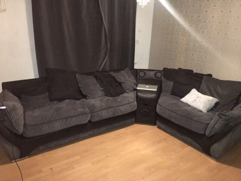 Usb Bluetooth Speaker Black And Grey Corner Sofa In