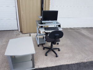chrome and glass computer desk and chair