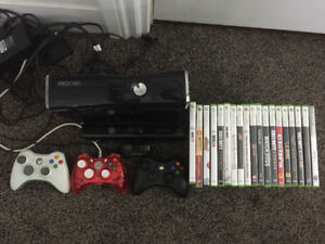 Selling Xbox 360, three remotes, Xbox Kinect, and 19 games.
