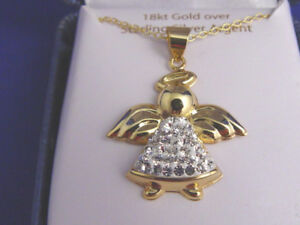 New in Box 18k Gold over Sterling Silver Angel Pendant on Chain