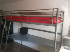 Ikea Loft bed frame with desk top, silver-colour 90x200 cm