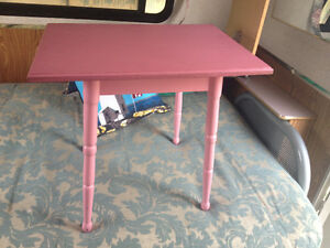 Antique table painted pink wood table