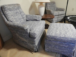 2 Upholstered chairs plus one footstool