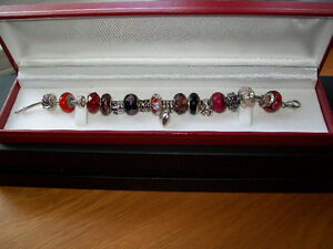 """STERLING BRACELET WITH MURANO GLASS BEADS / 8"""" LONG"""