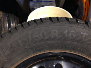 Tires on steel wheels (4x) was on Subaru Outback 2009 225/60R/16 West Island Greater Montréal image 5