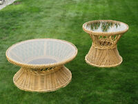 Wicker & glass patio tables