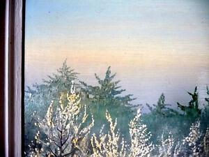 "Original Oil by Urszula Broll "" Mid-Winter Moonlight"" Early Abst Stratford Kitchener Area image 8"