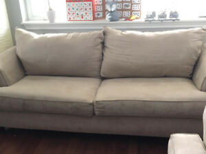 Big Comfy Micro Suede Beige Couch for Sale