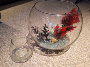 Fish bowl and cleaning bowl