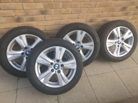 4 x 16 inch genuine BMW alloy wheels and very good tyres