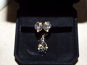 14 kt Gold Diamond and Sapphire pendant and earrings
