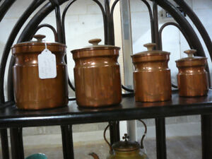 Antique and vintage copper kettle, canisters and teapot