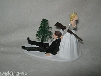 Wedding Party Reception ~Shot Gun~  Cake Topper Bride Dragging Groom Humorous Bride Dragging Groom Cake Topper