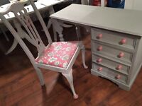 Shabby chic dressing table and chair