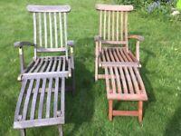 Teak steamer lounger garden chairs