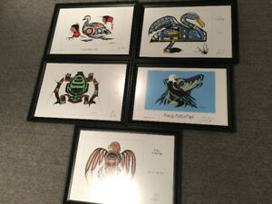 5 limited edition framed prints by artist Fancy Peter Paul