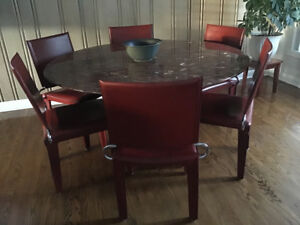 STUNNING CUSTOM GRANITE DINING TABLE & LEATHER CHAIRS