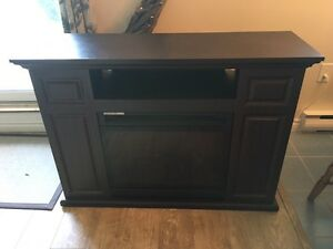 DARK BROWN TV STAND WITH ELECTRIC FIRE PLACE