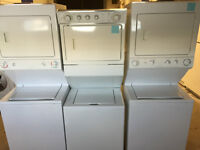 STACKING WASHER & DRYER COMBO 1 PC UNITS - 1 YEAR WARRANTY