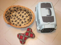 Small Pet Bed & Carrier & Fabric Toy Bone