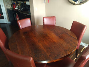 Hardwood round table & 6 red leather chairs + 2 Bar chairs