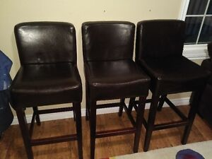 3 Leather high Bar stools