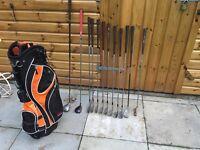 Golf clubs full set Ben Hogan irons, driver, rescue club, putter & golf bag