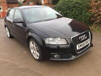 Audi A3 1.6 S Linepetrol manual Sportback 2009 Black 5 dr leather air con