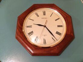 Seiko Oak Octagonal Wall Clock