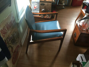 2 gorgeous baby blue leather and teak chairs