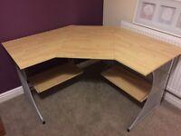 Corner desk with under shelving