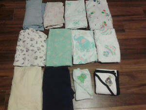 10 FITTED CRIB SHEETS AND 2 BABY TOWELS