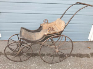 SPECTACULAR ANTIQUE PRE 1900 BABY CARRIAGE ALL WOOD