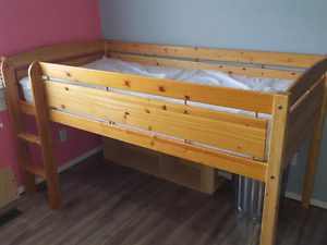 Twin loft bed with mattress