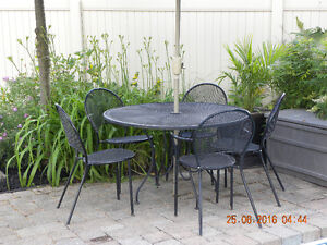 7pc Cast Iron Black Patio Set