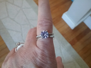 Sterling silver light purple zircon engagement ring size 7