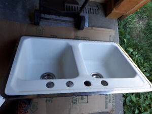 Antique cast iron sink.